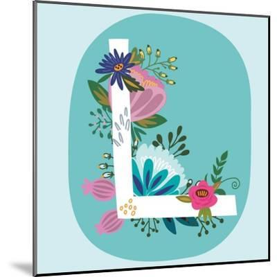 Vector Hand Drawn Floral Monogram with Vintage Amazing Flowers! Letters L Perfect for Backgrounds O-MarushaBelle-Mounted Art Print