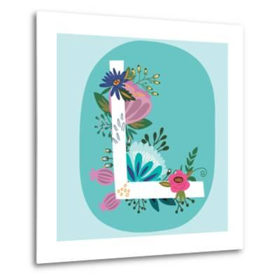 Vector Hand Drawn Floral Monogram with Vintage Amazing Flowers! Letters L Perfect for Backgrounds O-MarushaBelle-Metal Print