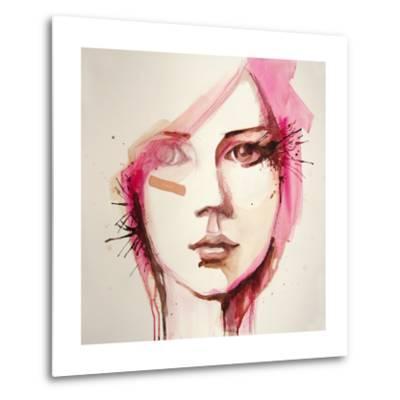 Watercolor Portrait of Beautiful Girl | Handmade | Self Made | Painting- re_bekka-Metal Print