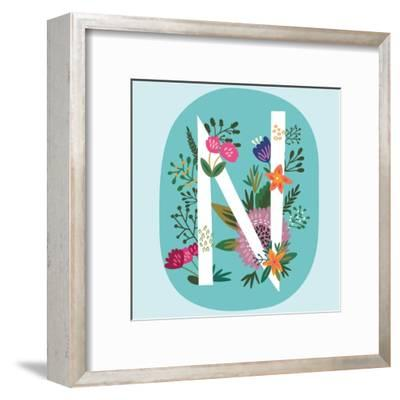 Vector Hand Drawn Floral Monogram with Vintage Amazing Flowers! Letters N Perfect for Backgrounds O-MarushaBelle-Framed Art Print