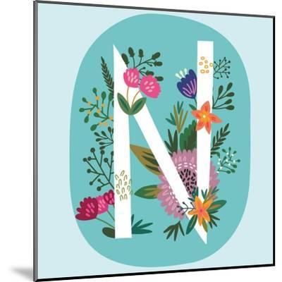 Vector Hand Drawn Floral Monogram with Vintage Amazing Flowers! Letters N Perfect for Backgrounds O-MarushaBelle-Mounted Art Print