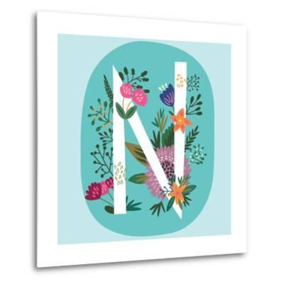 Vector Hand Drawn Floral Monogram with Vintage Amazing Flowers! Letters N Perfect for Backgrounds O-MarushaBelle-Metal Print