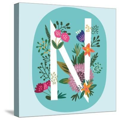 Vector Hand Drawn Floral Monogram with Vintage Amazing Flowers! Letters N Perfect for Backgrounds O-MarushaBelle-Stretched Canvas Print