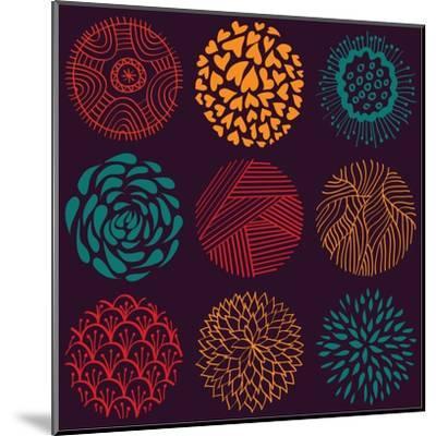 Seamless Circle Pattern- Lunarus-Mounted Art Print
