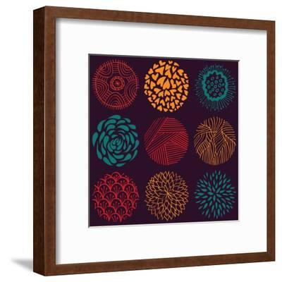 Seamless Circle Pattern- Lunarus-Framed Art Print