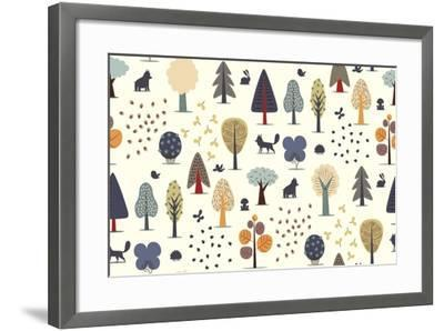 The Vector Illustrated Seamless Pattern of Flat Forest Elements - Various Trees, Wild Animals and S- Airibis-Framed Art Print