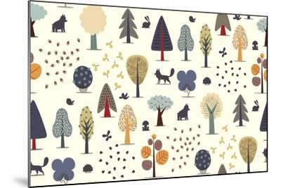 The Vector Illustrated Seamless Pattern of Flat Forest Elements - Various Trees, Wild Animals and S- Airibis-Mounted Art Print