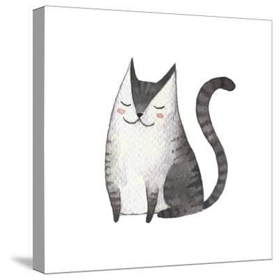 Cute Gray Cat. Watercolor Kids Illustration with Domestic Animal. Lovely Pet. Hand Drawn Illustrati-Maria Sem-Stretched Canvas Print