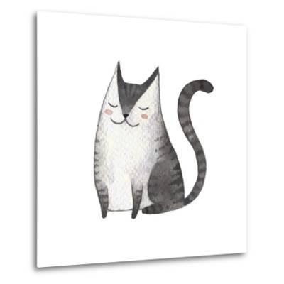 Cute Gray Cat. Watercolor Kids Illustration with Domestic Animal. Lovely Pet. Hand Drawn Illustrati-Maria Sem-Metal Print