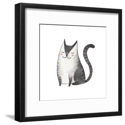 Cute Gray Cat. Watercolor Kids Illustration with Domestic Animal. Lovely Pet. Hand Drawn Illustrati-Maria Sem-Framed Art Print