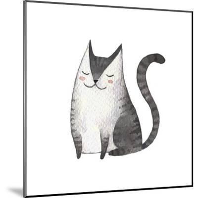 Cute Gray Cat. Watercolor Kids Illustration with Domestic Animal. Lovely Pet. Hand Drawn Illustrati-Maria Sem-Mounted Art Print