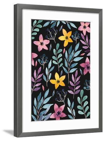 Beautiful Postcard with Hand Drawn Floral Elements. Bright Colors, Simple Shapes. Hand Drawn Waterc-Maria Sem-Framed Art Print