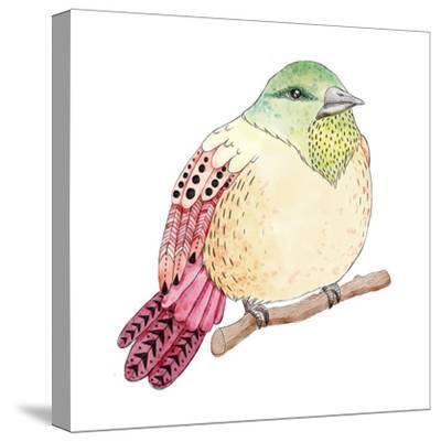 Watercolor Birds Illustration. Hand Drawn Sketch-Maria Sem-Stretched Canvas Print