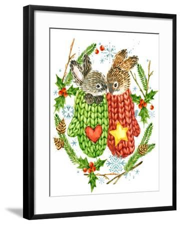 Cute Rabbit. Forest Animal. Christmas Card. Watercolor Winter Holidays Wreath Frame.-Faenkova Elena-Framed Art Print