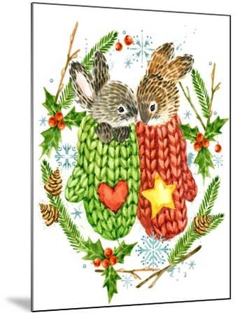 Cute Rabbit. Forest Animal. Christmas Card. Watercolor Winter Holidays Wreath Frame.-Faenkova Elena-Mounted Art Print