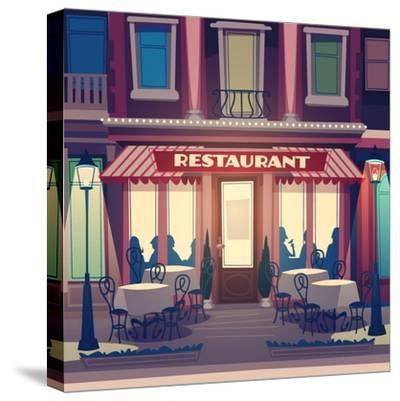 Restaurant Facade. Retro Style Vector Illustration- Doremi-Stretched Canvas Print