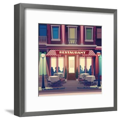 Restaurant Facade. Retro Style Vector Illustration- Doremi-Framed Art Print