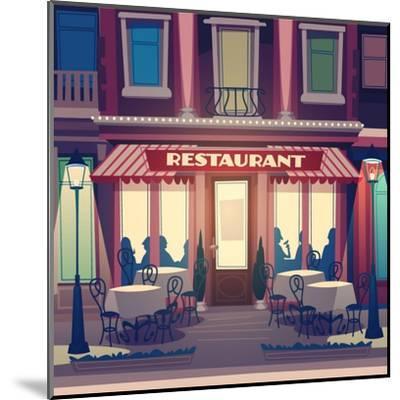 Restaurant Facade. Retro Style Vector Illustration- Doremi-Mounted Art Print