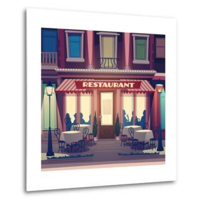 Restaurant Facade. Retro Style Vector Illustration- Doremi-Metal Print