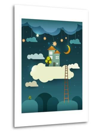 Abstract Paper Cut-Fantasy Home Sweet Home -Moon with Stars-Cloud and Sky at Night .Blank Cloud For-pluie_r-Metal Print