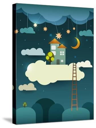 Abstract Paper Cut-Fantasy Home Sweet Home -Moon with Stars-Cloud and Sky at Night .Blank Cloud For-pluie_r-Stretched Canvas Print