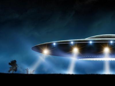 3D Rendering of Flying Saucer Ufo on Night Background-oorka-Framed Art Print