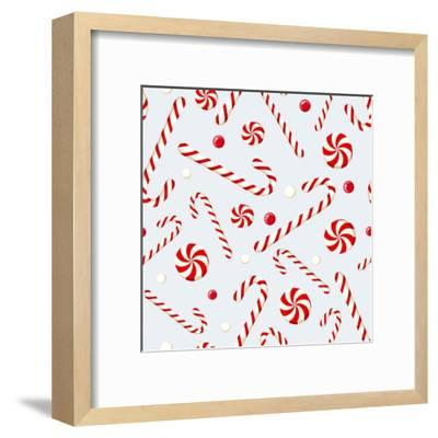 Seamless Background with Christmas Candies. Vector Illustration.- Naddya-Framed Art Print