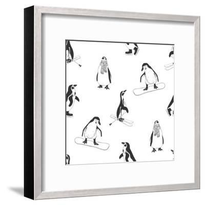 Seamless Pattern - Penguins. Winter Sports. Black and White-Cozy nook-Framed Art Print
