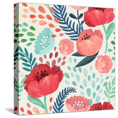 Seamless Hand Illustrated Floral Pattern on Paper Texture. Watercolor Botanical Background- Irtsya-Stretched Canvas Print