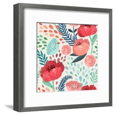 Seamless Hand Illustrated Floral Pattern on Paper Texture. Watercolor Botanical Background- Irtsya-Framed Art Print
