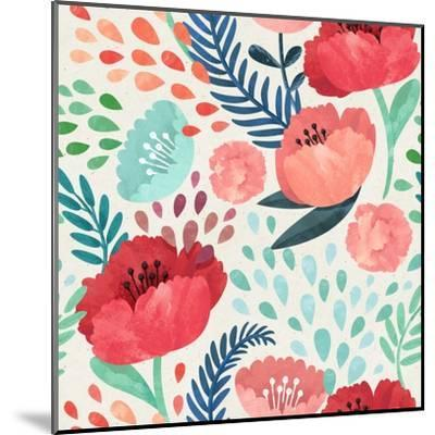 Seamless Hand Illustrated Floral Pattern on Paper Texture. Watercolor Botanical Background- Irtsya-Mounted Art Print