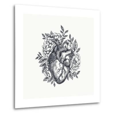 Valentines Day Card. Anatomical Heart with Flowers. Vector Illustration-adehoidar-Metal Print