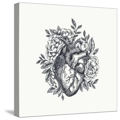Valentines Day Card. Anatomical Heart with Flowers. Vector Illustration-adehoidar-Stretched Canvas Print