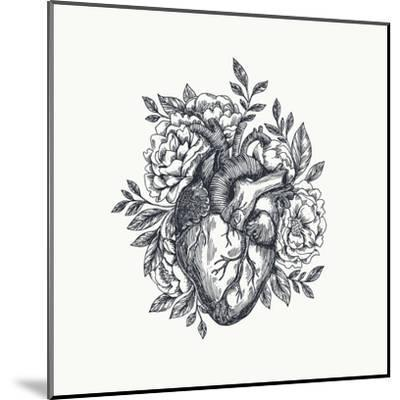 Valentines Day Card. Anatomical Heart with Flowers. Vector Illustration-adehoidar-Mounted Art Print