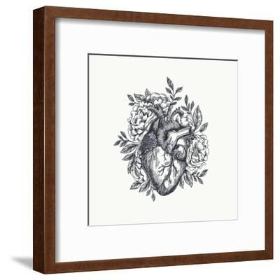 Valentines Day Card. Anatomical Heart with Flowers. Vector Illustration-adehoidar-Framed Art Print