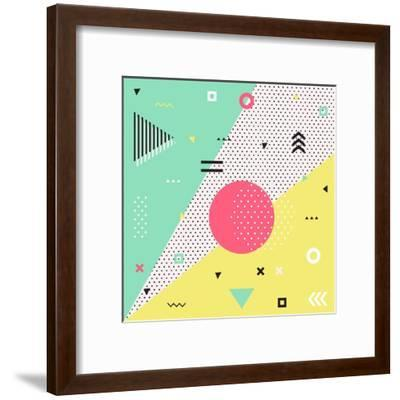 Trendy Geometric Elements Memphis Cards. Retro Style Texture, Pattern and Geometric Elements. Moder- bosotochka-Framed Art Print
