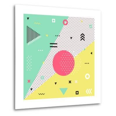 Trendy Geometric Elements Memphis Cards. Retro Style Texture, Pattern and Geometric Elements. Moder- bosotochka-Metal Print