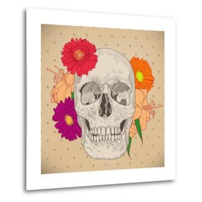 Vintage Card with Skull and Flowers on Beige Background. Day of the Death. Colorful Vector Illustra- golubok-Metal Print