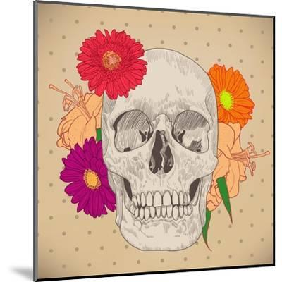 Vintage Card with Skull and Flowers on Beige Background. Day of the Death. Colorful Vector Illustra- golubok-Mounted Art Print