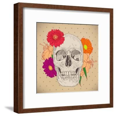 Vintage Card with Skull and Flowers on Beige Background. Day of the Death. Colorful Vector Illustra- golubok-Framed Art Print