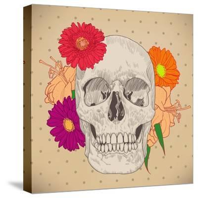 Vintage Card with Skull and Flowers on Beige Background. Day of the Death. Colorful Vector Illustra- golubok-Stretched Canvas Print