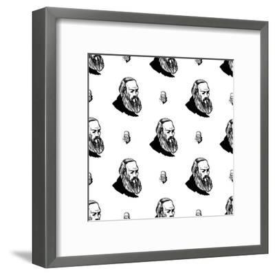 Background with Hand Drawing Inky Portraits of the Great Russian Writers: Dostoevsky. Vector Seamle- Sopelkin-Framed Art Print