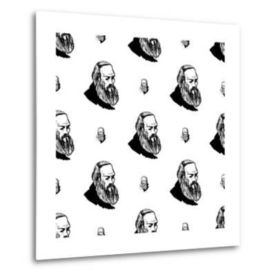 Background with Hand Drawing Inky Portraits of the Great Russian Writers: Dostoevsky. Vector Seamle- Sopelkin-Metal Print