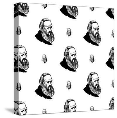 Background with Hand Drawing Inky Portraits of the Great Russian Writers: Dostoevsky. Vector Seamle- Sopelkin-Stretched Canvas Print