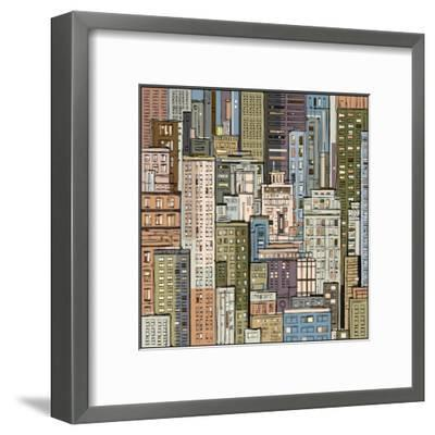 Cityscape. Hand Drawn Vector-dahabian-Framed Art Print