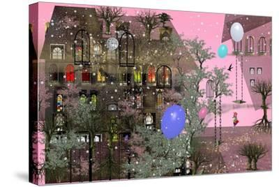 Girl Walking in a Garden next to a Big House with Pink Sky, Big, Colorful Air Balloons, Many Japane-Ilona Reny-Stretched Canvas Print