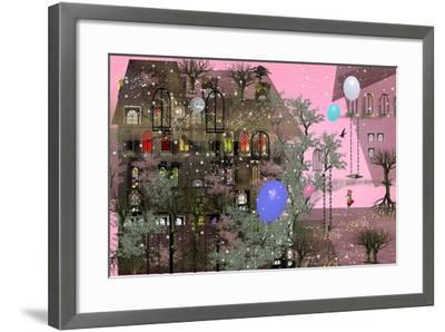Girl Walking in a Garden next to a Big House with Pink Sky, Big, Colorful Air Balloons, Many Japane-Ilona Reny-Framed Art Print