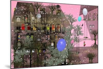 Girl Walking in a Garden next to a Big House with Pink Sky, Big, Colorful Air Balloons, Many Japane-Ilona Reny-Mounted Art Print