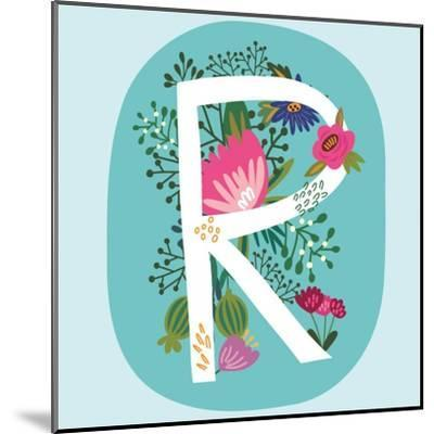 Vector Hand Drawn Floral Monogram with Vintage Amazing Flowers! Letters R Perfect for Backgrounds O-MarushaBelle-Mounted Art Print