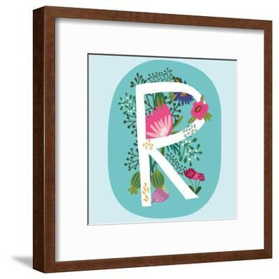 Vector Hand Drawn Floral Monogram with Vintage Amazing Flowers! Letters R Perfect for Backgrounds O-MarushaBelle-Framed Art Print